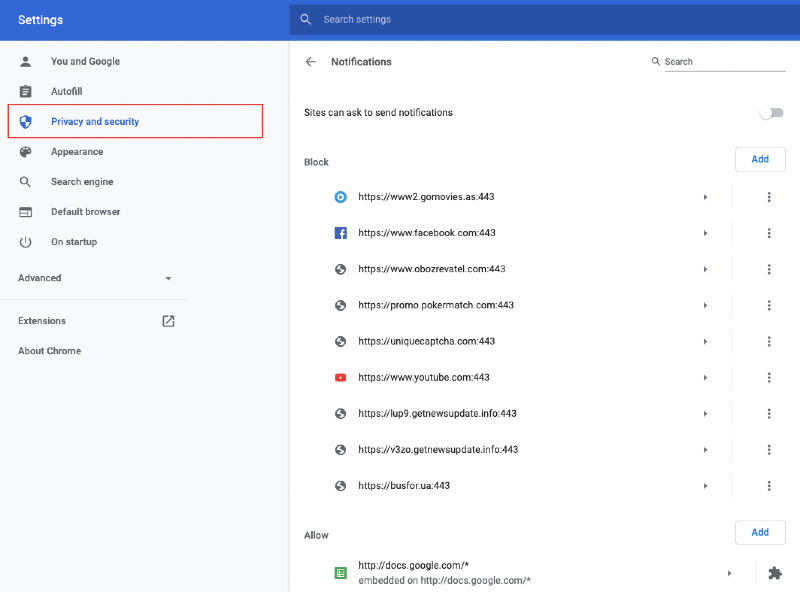 chrome settings with privacy and security tab highlighted