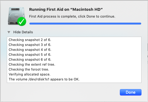 checking hard drive with First Aid in Disk Utility