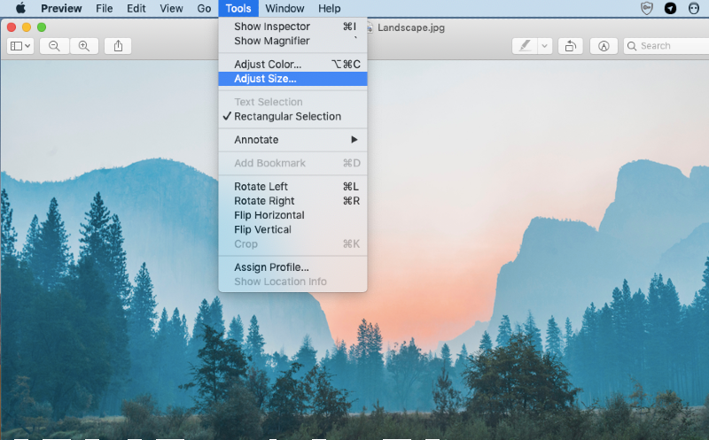 adjust size in tools menu in preview