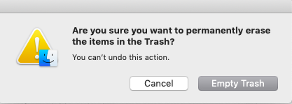 are you sure you want to permanently erase items in trash window