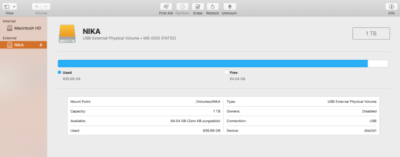 external disk open in disk utility