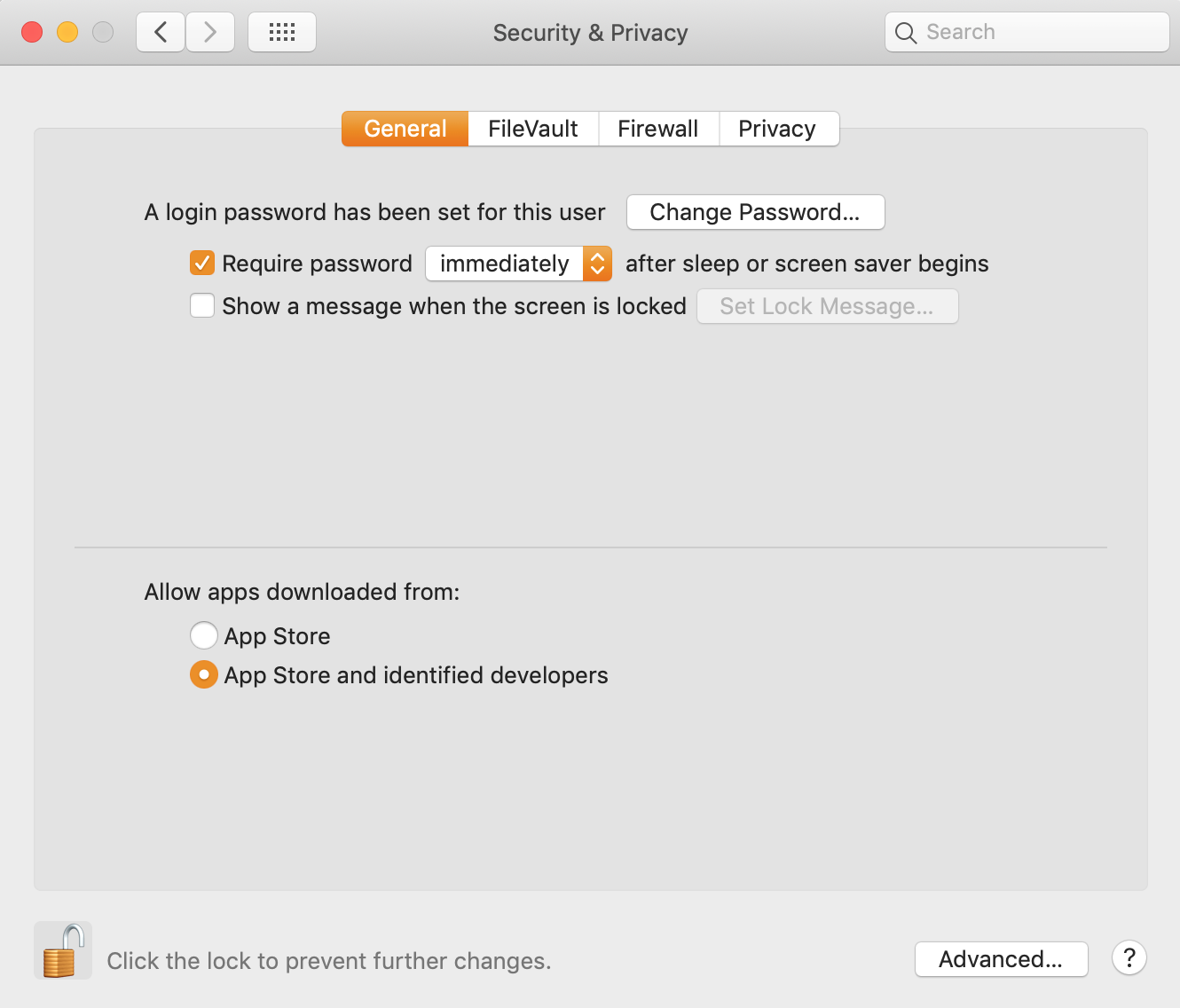 MacBook Security & Privacy, General, allow apps from other sources