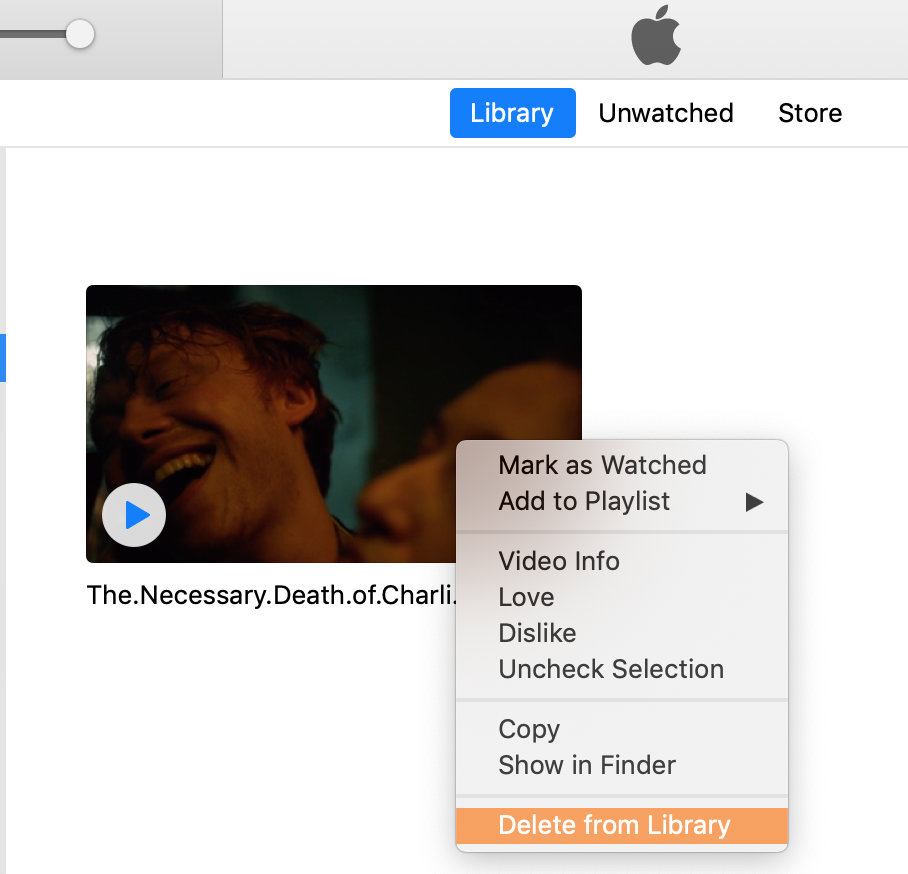 delete movie from itunes library with right-click