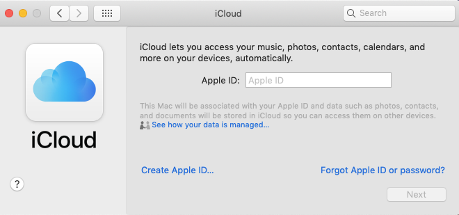 signing in to icloud with apple id