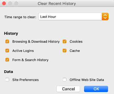 clear recent history settings in firefox