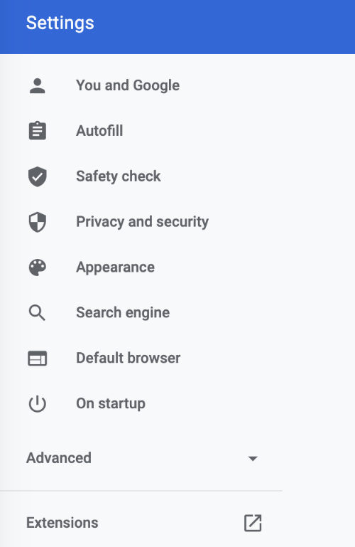 find the extensions pane in the settings list in chrome