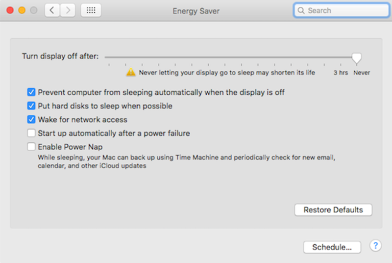 Energy Saver window on a Mac with sleep options