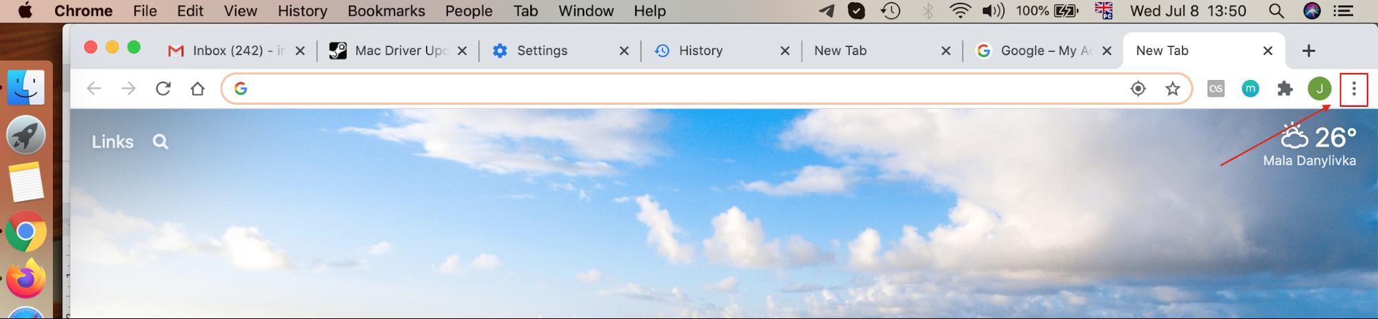 find chrome menu button in top right corner