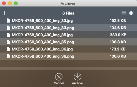 archiver window while compressing files on mac