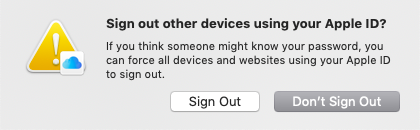 sign out other devices using your apple id window