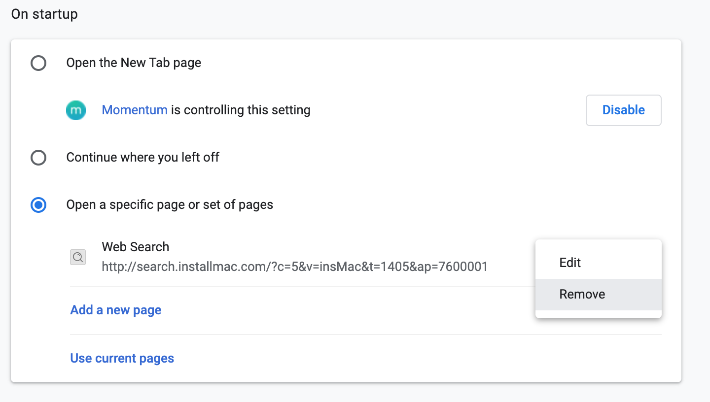 open specific page on startup in chrome
