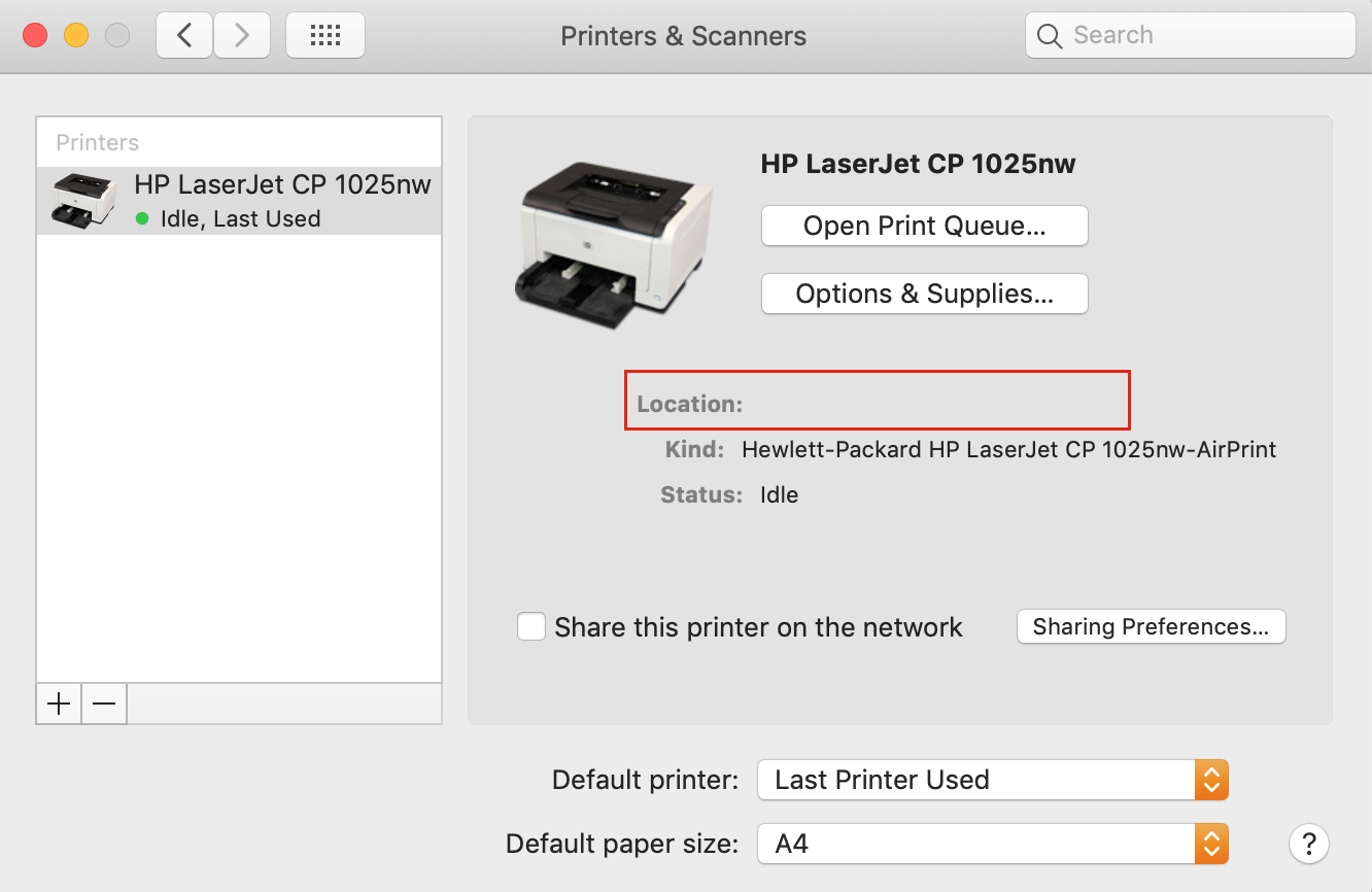 find printer ip address in system preferences printer menu