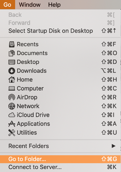 go to folder in the go menu in finder