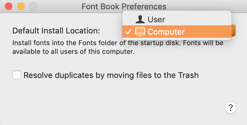 change install location from user to computer for font book