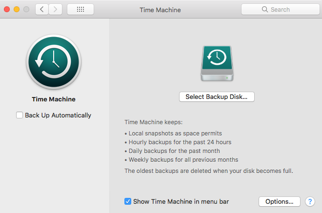 interface of mac time machine app