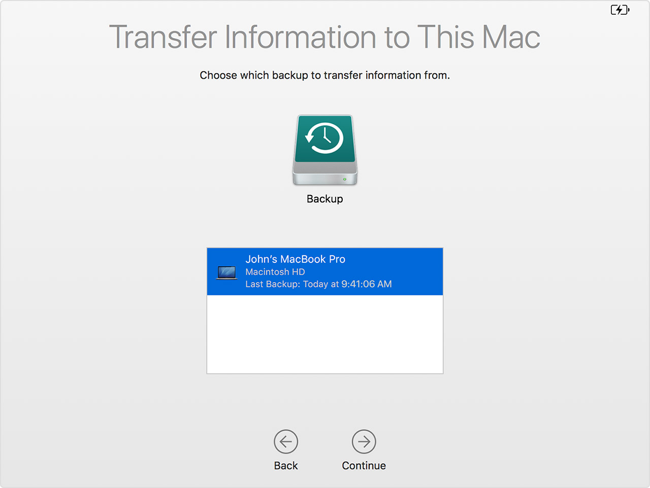 migration assistant select time machine backup