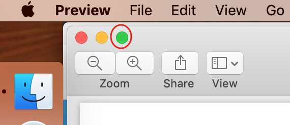 location of the green circle to launch split screen on mac