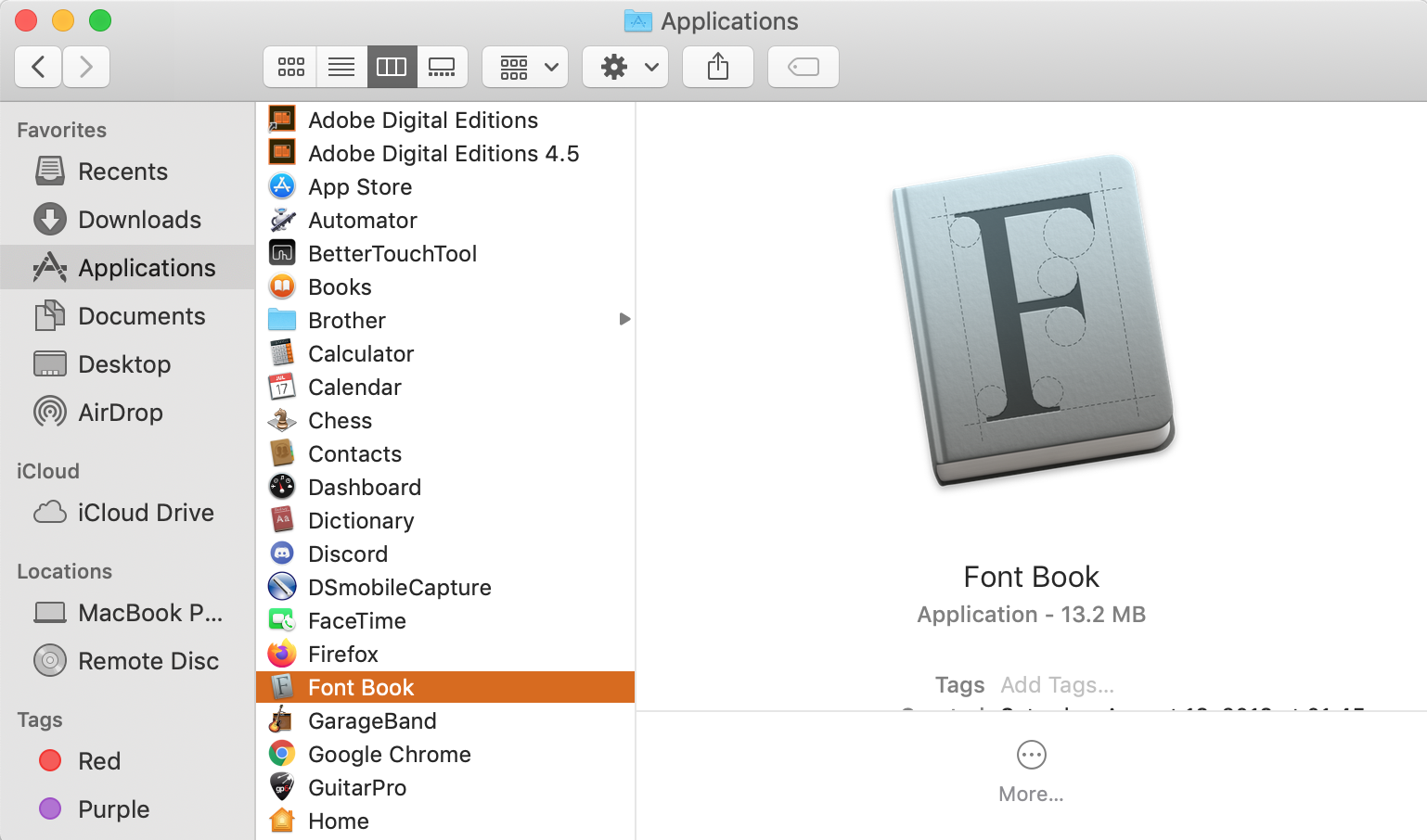 search for font book in spotlight