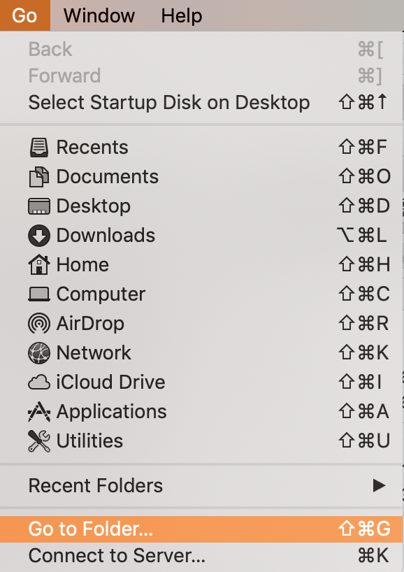 go to folder in go settings in finder