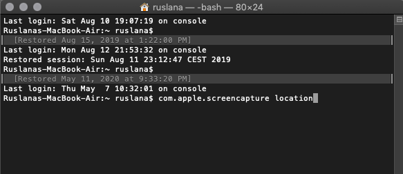 terminal app with com.apple.screencapture location command
