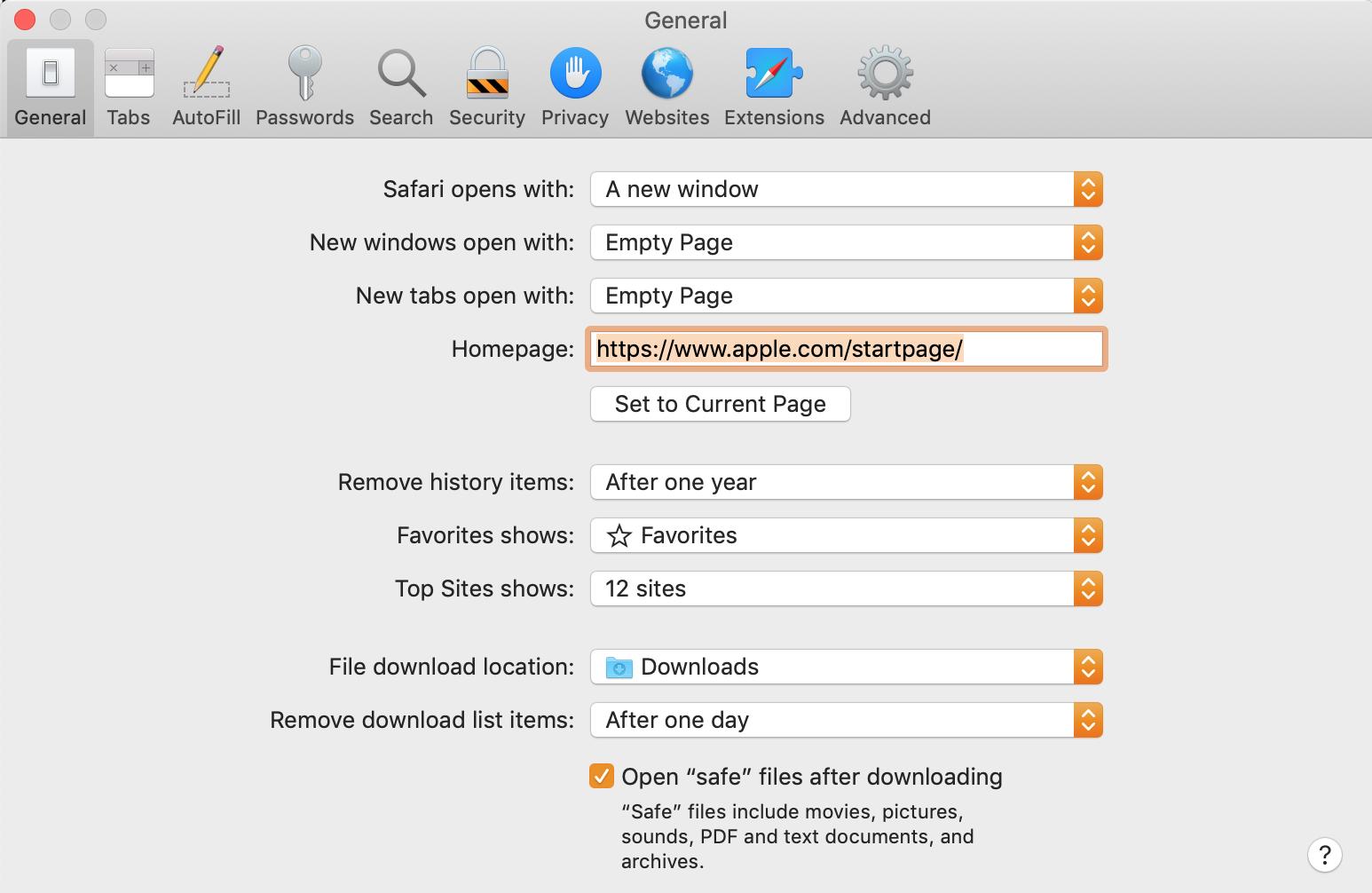 set custom safari homepage in general settings