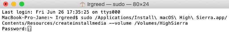 terminal command to create a high sierra bootable drive