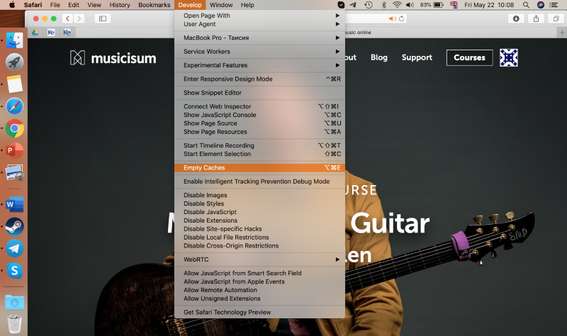 emptying caches in Safari on MacBook