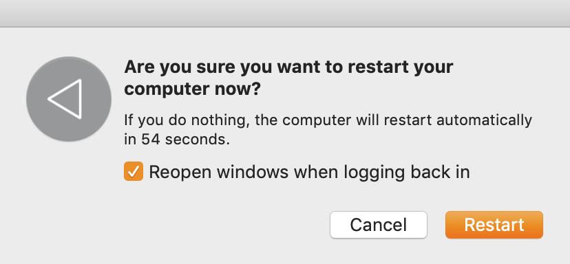 restarting MacBook