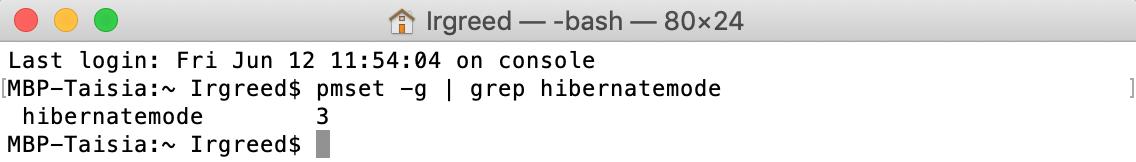 hibernatemode command in terminal
