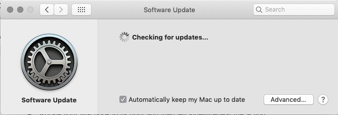 software update tab checking for updates