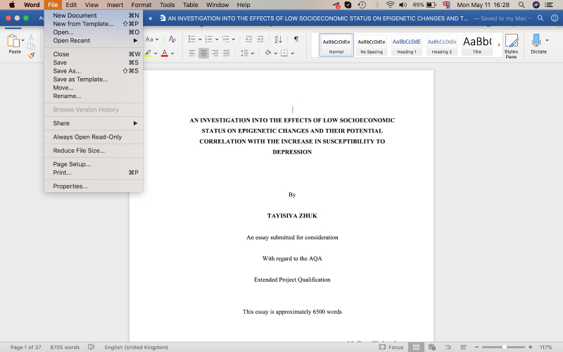 a Microsoft Word window with the File section selected from the top menu displaying the option to browse version history