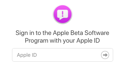 sign in window for beta version