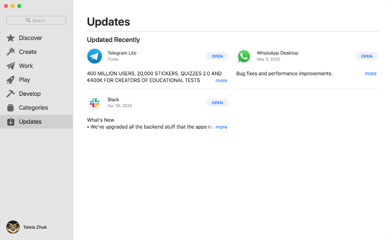 App Store window in the updates section displaying recently updates applications with no updates available