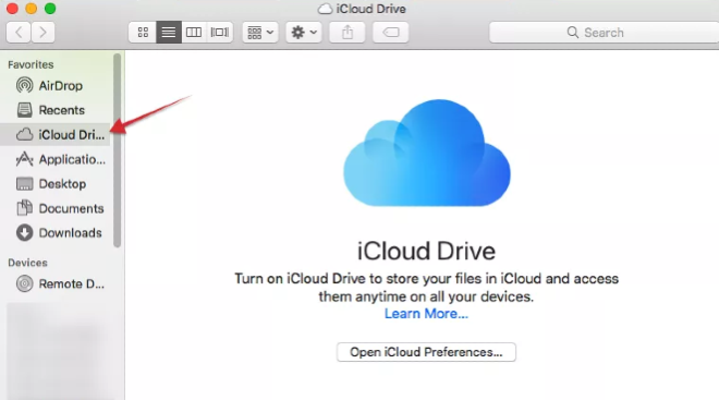 opening icloud from finder on mac