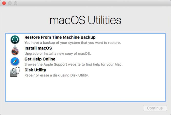 macOS utilities menu