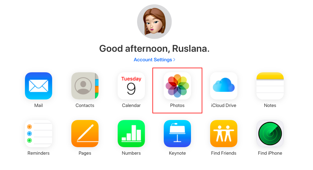 icloud account with photos highlighted