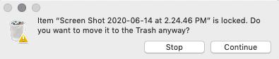 moving locked file into trash