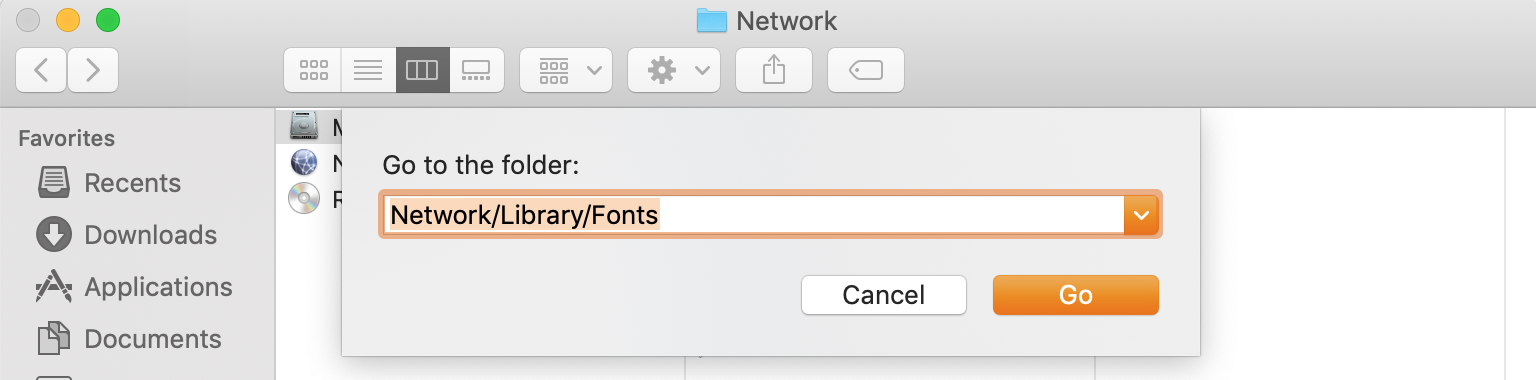 go to fonts folder in network settings in finder