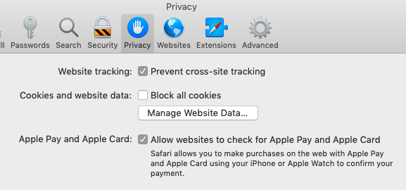 safari preferences privacy tab
