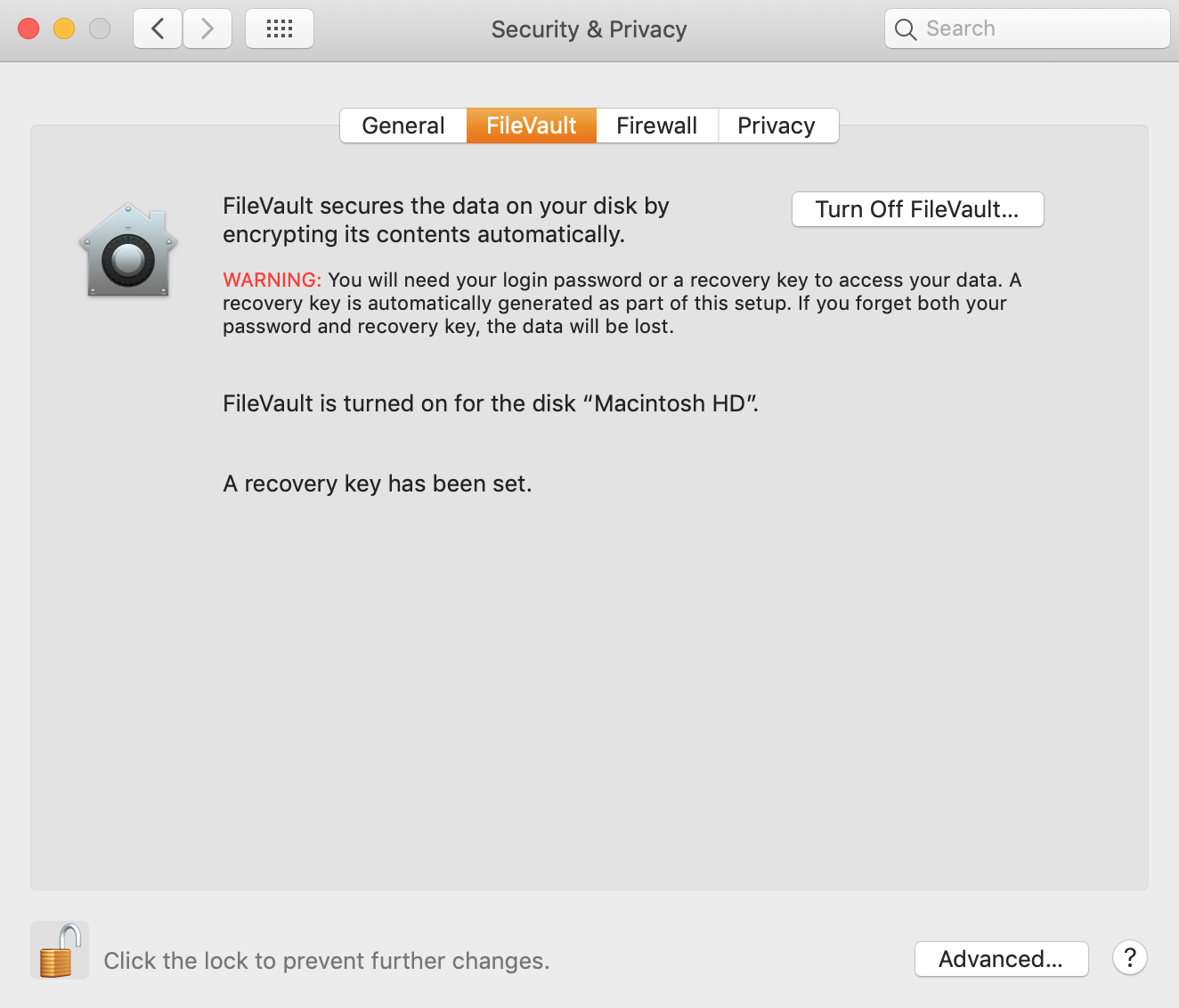 filevault turned on in security and privacy settings