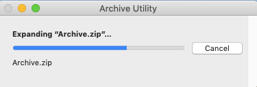 Archive Utility window when expanding a compressed file on a mac