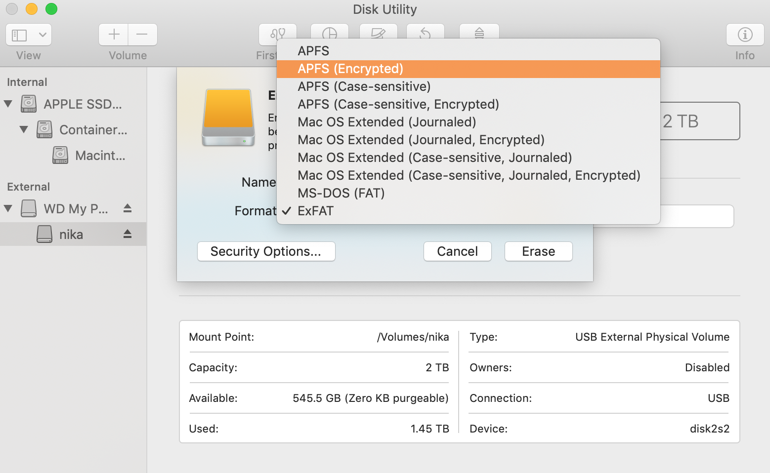 change format of external disk to encrypted APFS in disk utility