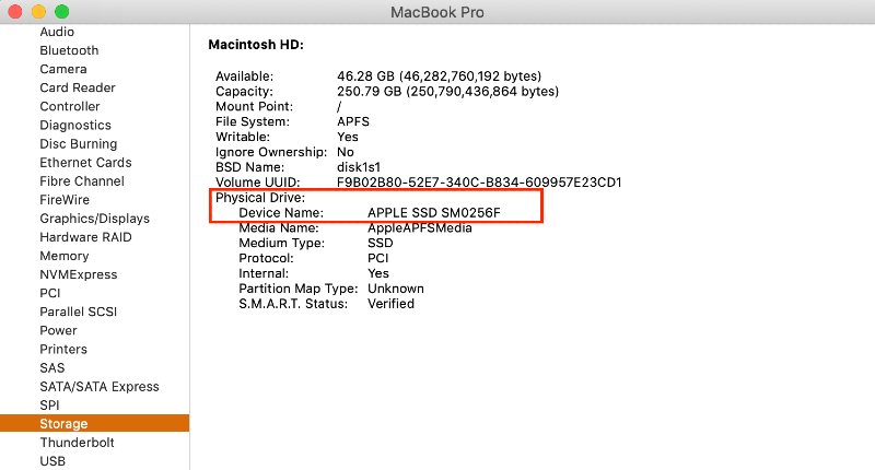 check drive info in hardware system information