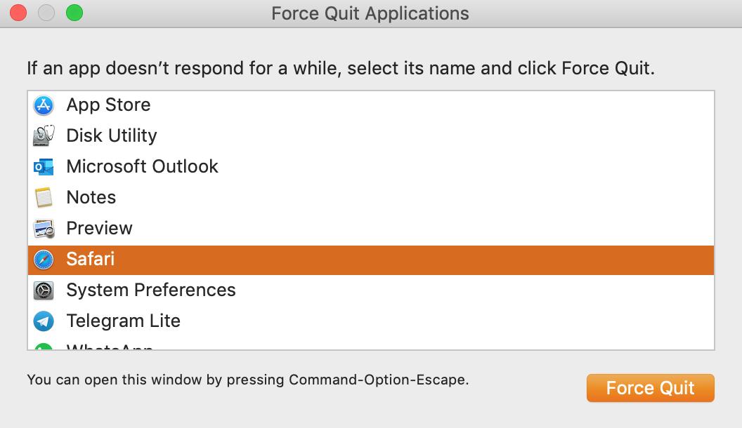 force quit menu on mac