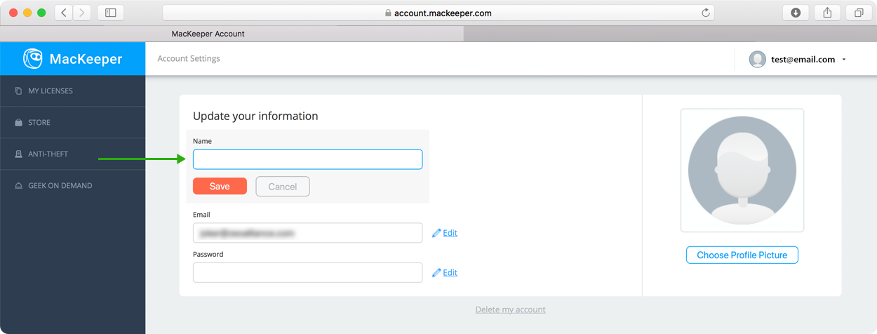 change your MacKeeper account email or password