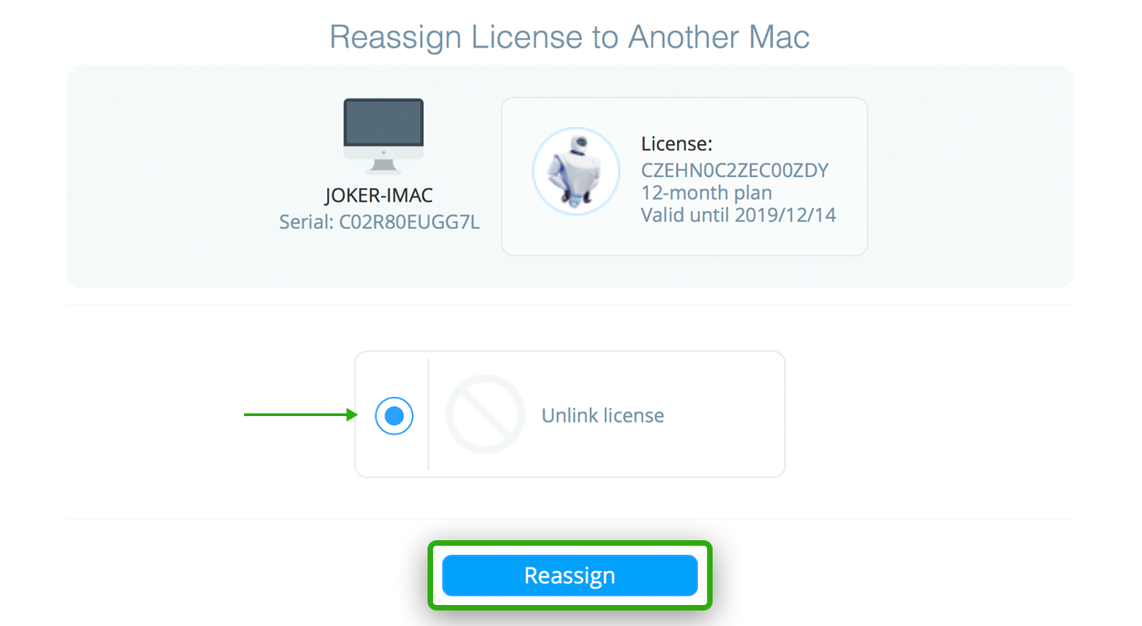 mackeeper license status reassign
