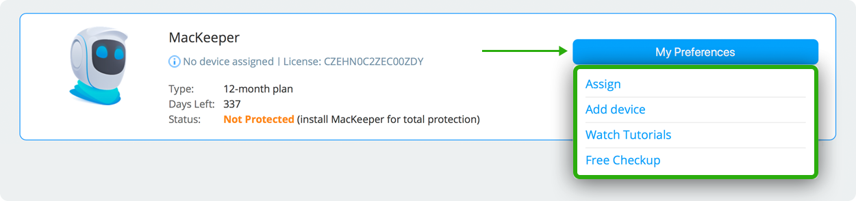 manage MacKeeper licenses