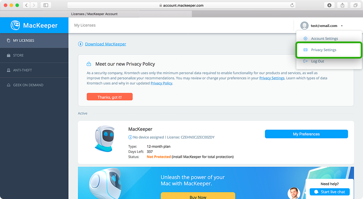 Unsubscribe from MacKeeper newsletters