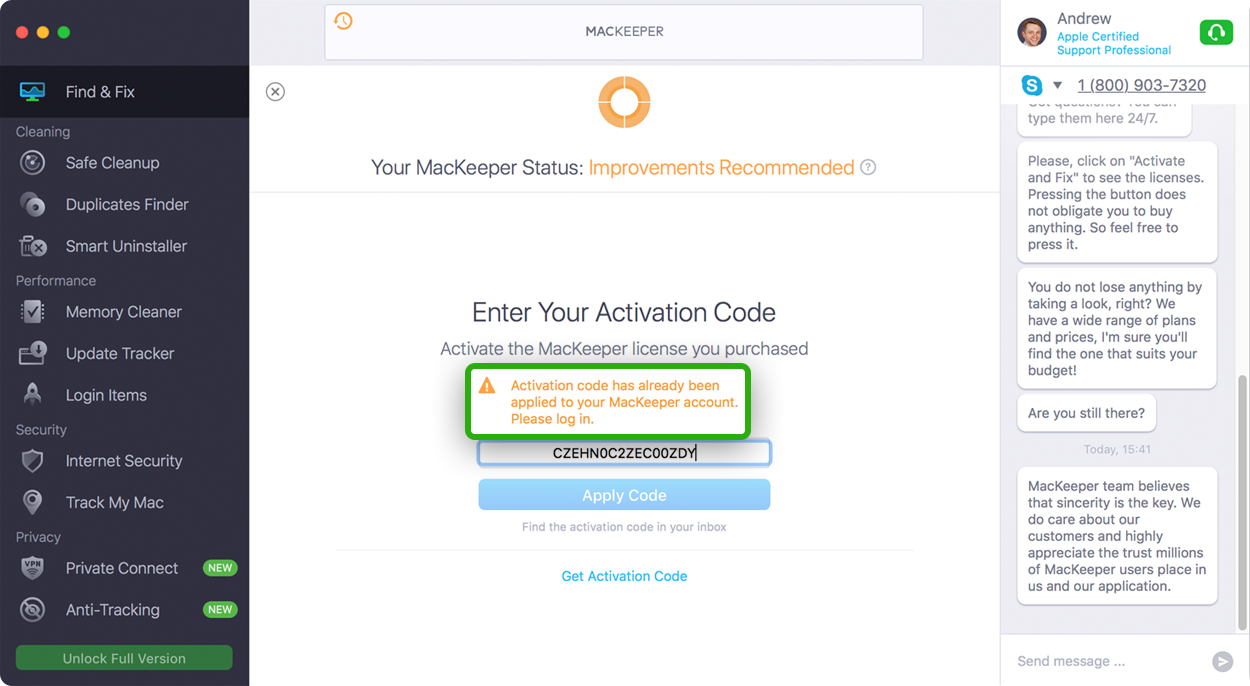 Activation code has already been applied MacKeeper
