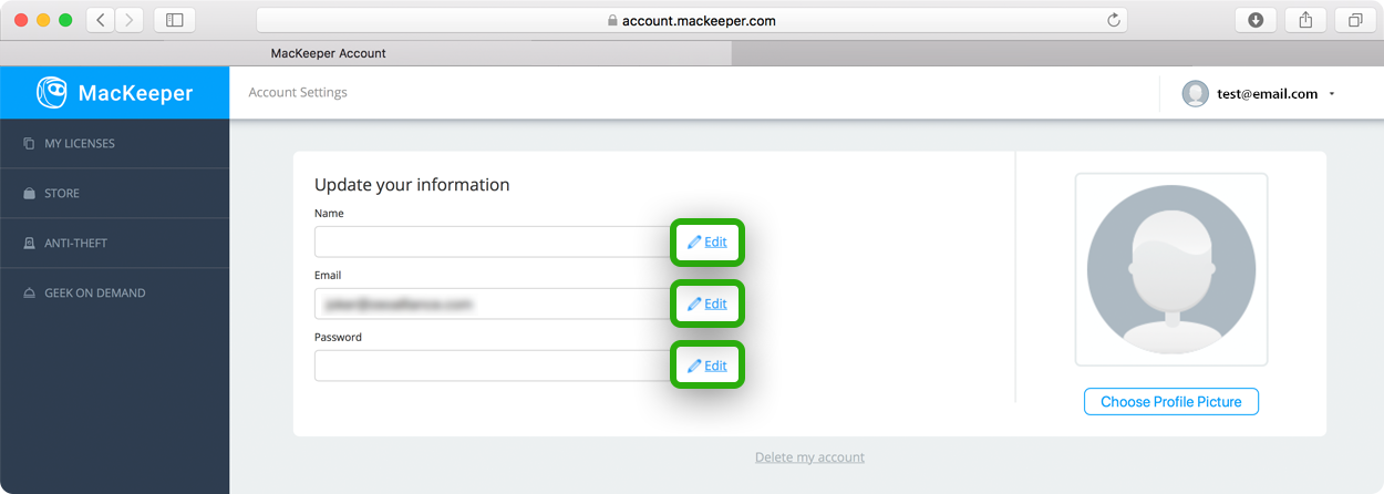 changeMacKeeper account email or password